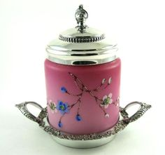 Circa 1880 Mount Washington Satin Glass Enamel Cracker Jar from the-vault on Ruby Lane
