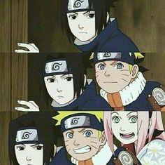 Team 7 Sasuke Uchiha, Anime Naruto, Naruto Shippuden Sasuke, Naruto Funny, Manga Anime, Sasunaru, Sakura Haruno, Naruto Sasuke Sakura, Arte Digital Fantasy