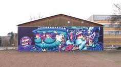 http://freshwounds.com/peachbeach-aka-vidam-and-look/    Graffiti duo in Berlin rocking a 30 meter mural.