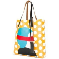 Marni Ekta print shopper tote (€310) ❤ liked on Polyvore featuring bags, handbags, tote bags, top handle handbags, polka dot tote bag, polka dot handbag, top handle purse and marni tote bag