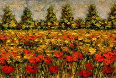Quadro dipinto ad olio raffigurante Prato fiorito con papaveri : Dipinti di sumandimension
