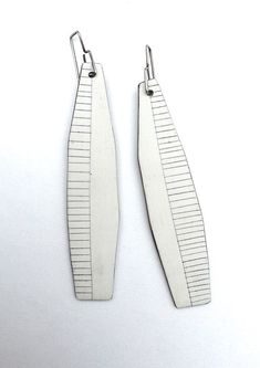 Contemporary jewelry white earrings modern feather earrings