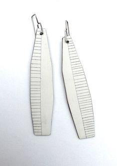Contemporary jewelry, white earrings, modern feather earrings