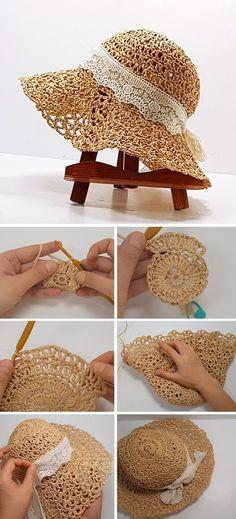 Simply Crochet, Double Crochet, Free Crochet, Hat Crochet, Crochet Skirts, Crochet Crafts, Crochet Projects, Crochet Summer Hats, Sombrero A Crochet