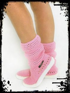 Items similar to Crochet Boots Crochet Knitted Shoes adult Outdoor Boots for the Street Folk Tribal Boho s hippie Made to Order pattern crochet cuffs on Etsy Crochet Home, Hand Crochet, Knit Crochet, Crochet Boots, Knit Shoes, Sewing Hacks, Crochet Projects, Crochet Patterns, Slippers