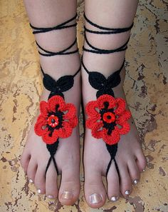 Sexy black crocheted barefoot sandals with red flower by dosiak, $14.00