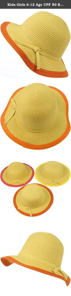 """Kids Girls 6-12 Age UPF 50 Beach Summer Floppy Bucket Sun Hat Natural Orange. Just like mom! New UPF 50+ Girls Kids 2 tone Silver Lurex Sun Beach Braid Garden Picnic Vacation Hat Visor Wide Brim Floppy 2-5/8"""" with Ribbon Bow Headband and the interior sweatband. Start your kids early on a sun protection regimen. Children need extra sun protection for their extra sensitive skin. Perfect for hot weather to keep harmful sun and UV rays out of their face. Or even a formal affair like weddings..."""