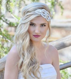 "Amazon.com : Pink Pewter Authentic Bridal Collection ""Sarah"" White Statement Headband Stretch Band Hair Jewelry #pinkpewter @pinkpewter"