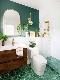 home decor design trends You Will Actually Die When You See This Small Bathroom Before & After I& in love with this bathroom makeover! So serene! See This Small Bathroom Before & After Bathroom Accent Wall, Bathroom Accents, Boho Bathroom, Bathroom Renos, Bathroom Flooring, Bathroom Renovations, Bathroom Storage, Bathroom Makeovers, Flooring Tiles