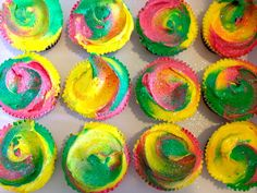 Notting Hill Carnival cupcakes with rasta buttercream