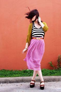 Elsie / A Beautiful Mess  Green, pink & stripes