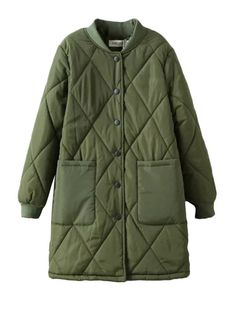 Argyle Design Solid Quilted Winter Coat & Jackets / Coats - at Jollychic