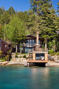 Lakefront Properties With Amazing Views Sit back, relax and enjoy the views. Gather inspiration for your lakefront dreams with help from these stately waterfront homes. Lakefront Property, Lakefront Homes, Lake Cabins, Cabin Homes, Lake Homes, Cottage Homes, House Goals, Beautiful Homes, House Beautiful
