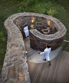 Outdoor Shower In A Spiral Open Air Design ~ All In Living ♥ To Travel   Mhondoro Game Lodge.