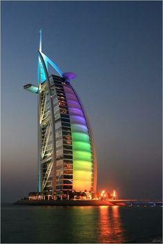 Burj Al Arab, Dubai. Burj Al Arab is a luxury hotel located in Dubai, United Arab Emirates. At 321 m ft), it is the fourth tallest hotel in the world. Unusual Buildings, Interesting Buildings, Amazing Buildings, Futuristic Architecture, Beautiful Architecture, Minimal Architecture, Building Architecture, Places Around The World, Around The Worlds