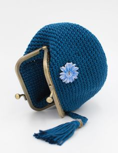 Blue Crochet Coin Purse, Crochet Wallet, Handmade Crochet Wallet, Cute Purse, Purse With Frame, Coin Purse, Kiss Lock Coin Purse by PeriplekinArt on Etsy Crochet Wallet, Crochet Coin Purse, Knitted Beret, Knitted Gloves, French Beret Hat, Chunky Wool, Coin Purses, Small Businesses, Arm Warmers