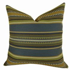 Plutus Chic Stripe Indigo Handmade Pillow, Multicolor