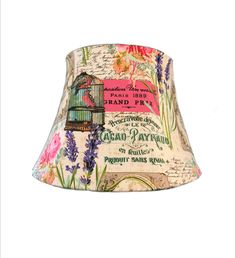 Lamp Shade, French Lamp Shade, Floral Lamp Shade, French Script Lamp Shade, Boho Lamp Shade, FREE SHIPPING - Continental USA