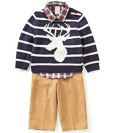 Starting Out Baby Boys 12-24 Months Checked Shirt, Sweater, and Pants Set