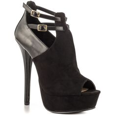 JustFab - Clarabelle  Price: $55  This mixed material stiletto bootie is so sexy-cool. Clarabelle features a faux suede vamp with side cutouts and dual ankle straps with adjustable buckles. A 6 inch wedge and 1 1/2 inch platform complete the look.