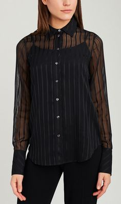 <p>Sheer stripes add subtle glam and modernity to this blouse. Front exposed Smoke mother-of-pearl buttons polish the look.</p>
