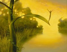 diving off leaf, portrait of diver, abstract artwork by kush, waiting for luck by Vladimir Kush Vladimir Kush, Artist Painting, Artist Art, Le Vent Se Leve, Waiting, Visionary Art, Imagines, Fine Art, Surreal Art