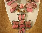 Chunky Pink Turquoise Cross Necklace Set
