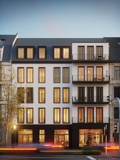 Visualization - residential building in the city Building Exterior, Building Facade, Building Design, Facade Architecture, Residential Architecture, Facade Design, Exterior Design, Condo Design, Design Art