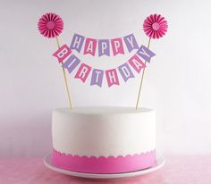 Cake Bunting Topper Pink Navy Happy Birthday Buntings Banners
