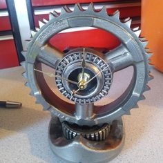 Desk clock made from used Harley Davidson compensator gear assembly. SOLD