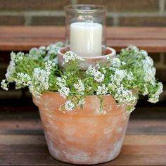Night Patio Ideas Create a warm and soft ambiance with this Flower Pot Centerpiece. More Backyard Ideas on Frugal Coupon Living.Create a warm and soft ambiance with this Flower Pot Centerpiece. More Backyard Ideas on Frugal Coupon Living. Flower Pot Centerpiece, Flower Arrangement, Floral Arrangements, Flower Table, Pot Jardin, Ideias Diy, Deco Floral, Backyard Landscaping, Backyard Retreat