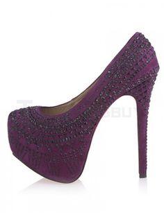 Fashion Purple Spike Heel Monogram Suede High Heels For Woman