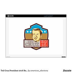 Ted Cruz President 2016 Republican Shield Decals For Laptops. Illustration showing Rafael Edward Ted Cruz, an American senator, politician and Republican 2016 presidential candidate set inside crest shield with words Ted Cruz 2016 done in retro style. #americanelections #elections #vote2016 #election2016