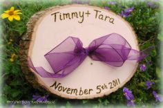 Personalized  Photo Prop Wood Tree Slice Sign Plaque Decor Rustic Fairytale Wedding YOUR CHOICE of RIBBON Color on Etsy, $29.00