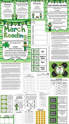 St. Patrick's Day/March - Themed Reading and Language Arts Unit for Intermediate Grades.  Students and teachers will love this huge 65 page resource full of nonfiction, informational text, worksheets, folktale, poetry, literacy center games on fact and opinion, figurative language, prefixes and word meaning, and writing activities.  This will make planning for the month of March much easier!