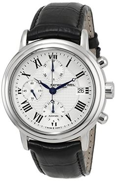 Men's Wrist Watches - Raymond Weil Mens 7737STC00659 Maestro Stainless Steel Automatic Watch with Black Leather Band -- Visit the image link more details. (This is an Amazon affiliate link)