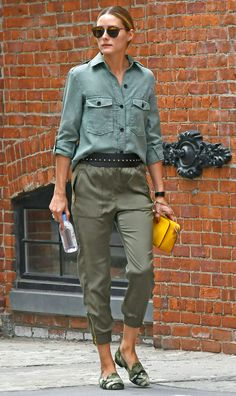 Olivia Palermo in an army green button-down top and pants, and camo flats - click through to see more celebrity street style