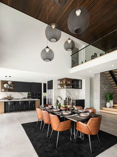80 Cozy Modern Dining Room Design and Decor Ideas for Your Home Dining Room Sets, Luxury Dining Room, Dining Room Lighting, Dining Room Design, Ceiling Lighting, Dining Room Modern, Design Table, Home Interior Design, Interior Decorating