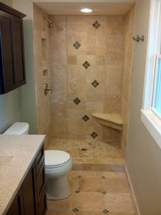 Small Bathroom Remodel retile the gross tile and painted floor shower in our master to this loveliness!