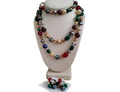 Hattie Carnegie Flapper Bead Necklace ER Set Foiled Art Glass Millifiori