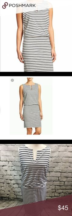 Athleta White Striped Rouched Sleeveless Dress Athleta dress in white with black stripes. Sleeveless with vneck styling. Ruching along sides to create a figure flattering silhouette. Knee length. Lined. Body is 82% polyester 14% linen 4% spandex. Lining is 85% polyester 15% linen Athleta Dresses