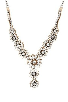 Valentino Floral Rhinestone Statement Necklace