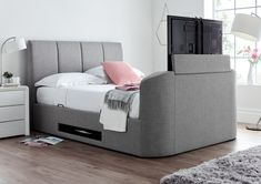 Striking looks and a practical space saving solution the Copenhagen TV Ottoman bed combines functionality with style. Perfect for relaxing simply kick back and relax, the TV can be effortlessly raised and lowered from the comfort of your bed with the han Bedding Master Bedroom, Tv In Bedroom, Room Ideas Bedroom, Grey Bedding, Luxury Bedding, Bedroom Furniture, Bedroom Decor, Queen Bedding, Bedroom Inspo