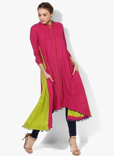 Sangria Band Collar 3/4Th Rolled Up Sleeves Hi-Low Length Kurta