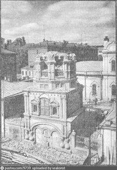 Фотография - Колокольня храма Николы Явленного на Арбате во время сноса - снимок сделан в 1931 году (направление съемки — северо-запад)