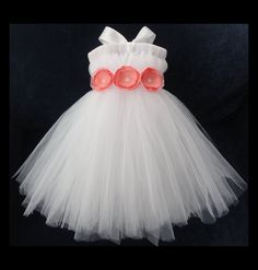 Coral Flower Girl Dress by StrawberrieRose on Etsy
