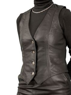Womens Black Luxury Leather Waistcoat with back buckle belt. Made in finest soft semi-aniline lambskin nappa leather. Also in cherry red or tan, and with matching pencil skirt.