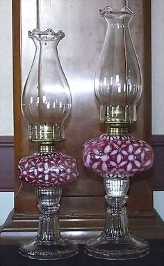 "Super Rare Hobbs Small ""Cranberry Snowflake"" Oil Lamp with Glass Screw Cover !!!  P. & A. Burner & Pie Crust Chimney. Ca. 1890."
