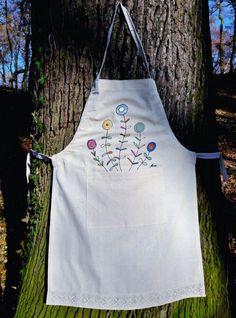Dandelions apron Flowers apron Designers apron Hand painted