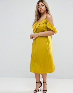 ASOS CURVE Satin Ruffle Cami Cold Shoulder Midi Dress  - The Ultimate Curvy Girl Spring 2017 Shopping Guide